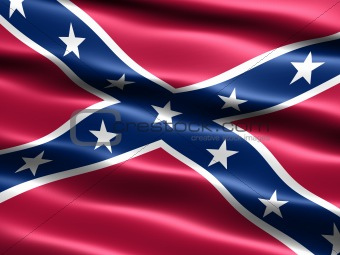Computer generated illustration of the the Confederate ,  Rebel, or Dixie Flag  with silky appearance and waves